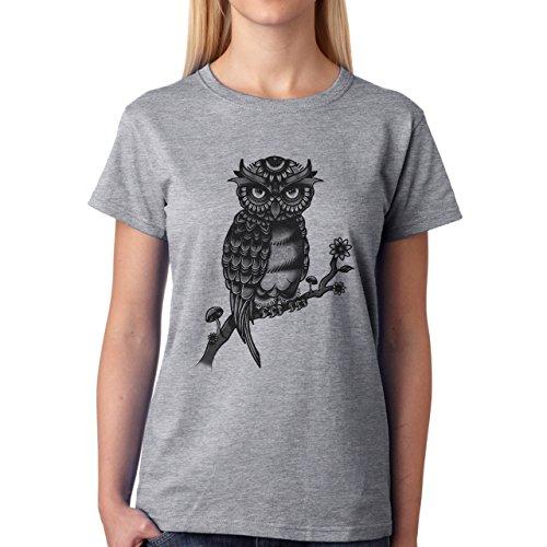 Owl Beautiful Angry Black Tree Damen T-Shirt Grau