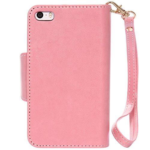 iPhone Case Cover Gepresste Blumen Geprägte Mädchen und Katzen-Muster PU-Leder-Kasten-Abdeckung mit Handschlaufe und 9-Karten-Slot-Foto-Rahmen für IPhone 5S SE ( Color : Pink , Size : IPhone 5S SE ) Pink