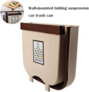 Perfuw Hanging Trash Can, 2020 New Upgrade Collapsible Trash Bin, Portable Kitchen Wall Mounted Waste Bin for Waste Storage/Kitchen/Bathroom/Toilet/Cars(8.5 * 9.5 * 3.5in, Coffee)