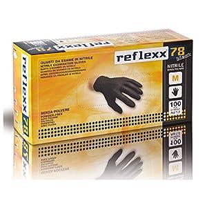 Reflexx R78/XS Guanti in Nitrile senza Polvere 4 Gr, Nero, 100 Pezzi 1 spesavip