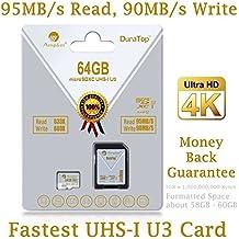 Adattatore da 64GB Micro SDXC scheda SD U3Plus. Amplim Pro classe 10UHS-I Extreme microSDXC 95Mb/sec, 90MB/s in scrittura. Ultra High Speed HD UHD 4K video. Interno/esterno MicroSD memoria flash TF Storage