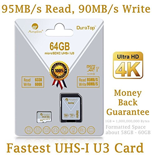 64GB Micro SDXC U3 Card Plus SD Adapter Pack. Amplim Pro Extreme Class 10 UHS-I MicroSDXC 95MB/s Read, 90MB/s Write. Ultra High Speed HD UHD 4K Video. Internal/External MicroSD Flash Memory Storage Test
