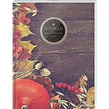 """TULPE Blanko Notizbuch A4 """"C137 Herbstdeko"""" (140+ Seiten, Vintage Softcover, Seitenzahlen, Register, Weißes Papier - Dickes Notizheft, Skizzenbuch, Zeichenbuch, Blankobuch, Sketchbook)"""