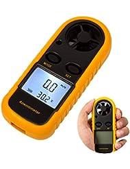 Digital LCD Anemometer, amgaze Wind Speed Meter Gauge Air Flow Geschwindigkeit Messung Thermometer mit Hintergrundbeleuchtung für Windsurfen Kite Flying Segeln Surfen Angeln