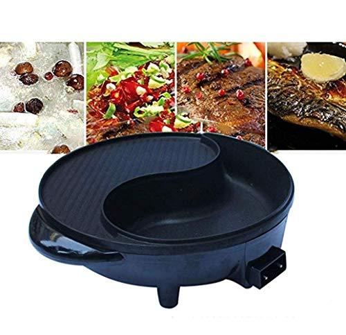 Yyo grill elettrico hot pot di stile coreano per fornello elettrico multifunzione hot pot grigliato in una pentola di controllo automatico della temperatura grill (nero)