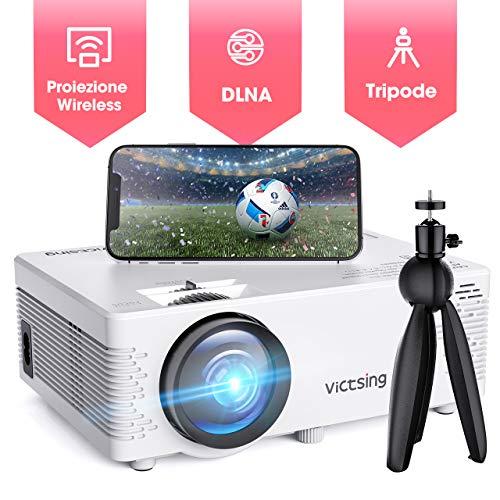 【wifi+bluetooth】proiettore portatile, victsing mini videoproiettore portatile 4000 lumen full hd 1080p, schermo mirroring e funzione bluetooth, compatibile per smartphone pc laptop tv stick ps4