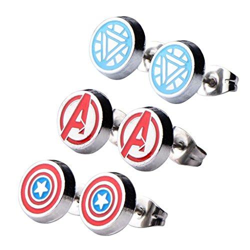 Ufficiale S acciaio Avengers Logo Capitan America Iron Man rotonda orecchini Set