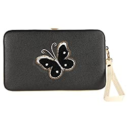 Bow clutch black-butterfly