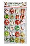 Calendrier de l'avent sous forme de chiffres colorés disques autocollants à coller 0331 advent calendrier