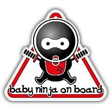 Baby Ninja On Board Sign Pegatina de Vinilo Para la Decoracion del Vehiculo 12 X 12 cm