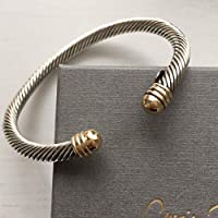 14k Solid Gold and 925 Sterling Silver Twisted Cuff Bracelet, Bi-Colour Bangles for Womens, Women Jewellry Gifts for Her