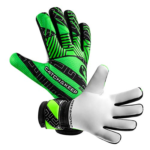 CATCH & KEEP Kralle Junior PRO - Premium Tormannhandschuhe für Kinder - Torwarthandschuhe mit extra starkem Grip (Grün, 5) Junior-handschuhe