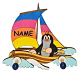 Garderobehaken - der kleine Maulwurf mit Boot / Segelboot incl. Namen - für Kinder mit 2 Haken - Kinderzimmer Garderobe Kleiderhaken / Garderobenleiste Kindergarderobe Wandhaken Wandgarderobe - Tier Maulwürfe