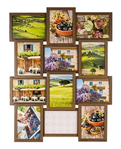 n Collage B x H: 51x68cm 12 Fotos 13x18 Nussbaum MDF Holz fertig montiert Glas (12 X 12 Holz-rahmen)