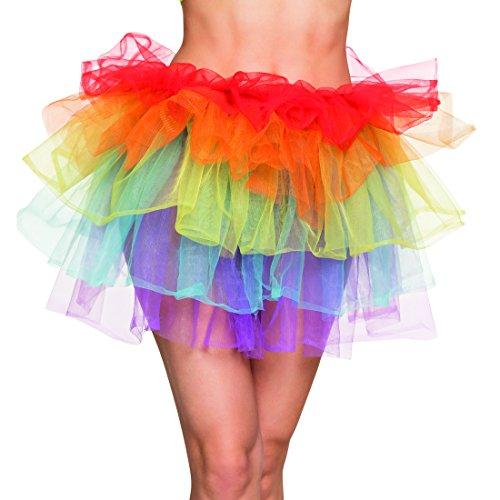 Girl Rainbow Kostüm - Amakando Rainbow Petticoat bunter Tüllrock Röckchen Punk Girl Minirock Rockstar 80er Jahre Kostüm Zubehör Regenbogen Tutu