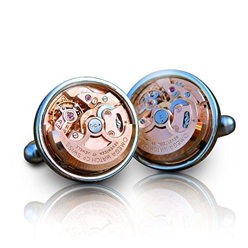Omega automatische Uhrwerk Manschettenknöpfe (Silber) Steampunk Herren