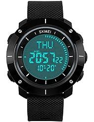 eyotto Herren Outdoor Wasserdicht Sport Uhren MILITARY Digital Display mit Kompass/Alarm/Stoppuhr zum erkunden, Reisen, Klettern, Wandern