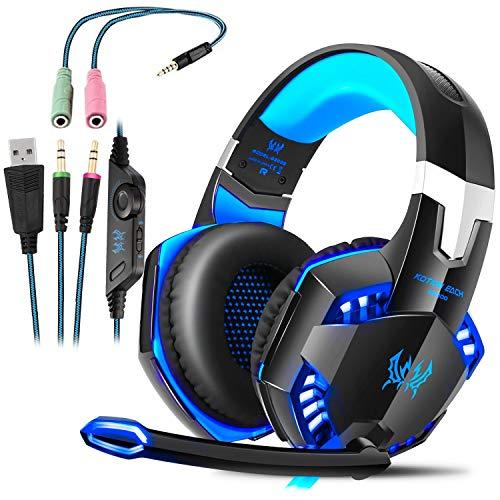 G2000 Gaming Headset, Tsing Professionelle Gaming Kopfhörer mit Mikrofon, 3.5mm On Ear Surround Sound Ohrhörer mit Bass-Stereo Lautstärkeregelung für PC Laptop Tablet Mobile Phones Blau