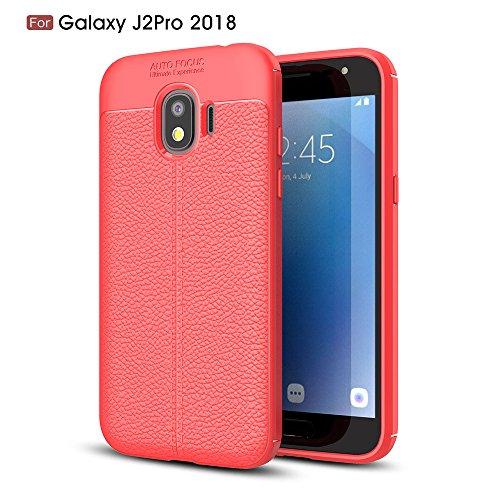 Casefirst Samsung Galaxy J2 Pro 2018 Weiche TPU-Abdeckung Stoßfest Anti-Kratz-Cover Antihaft-Gummi-Schutzhülle für Flexible Hülle -Samsung Galaxy J2 Pro 2018 rot