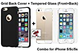 For iPhone 5 / 5c / 5s Combo of Soft Silicone Grid Design BACK COVER (Black) and 2-in-1 TEMPERED GLASS (Front & Back)