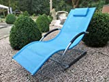 Gardissimo Swing Liege Montego Eisblau, mit Kopfkissen und Polsterung, Aluminium Gestell