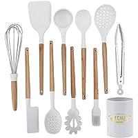 Ustensiles de cuisine, 11 pièces Kit d'ustensiles de cuisine en silicone blanc + bois Ustensiles de cuisine antiadhésifs…