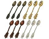 HENGRUI Kreative kleine Löffel Serie von Trauben Blattart Retro Löffel,ein Set von 12-teilig