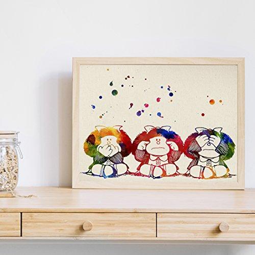 Lámina para enmarcar 'Mafalda'. Nacnic. Laminas decorativas para pared. Laminas estilo acuarela. Regalo creativo para tu amiga. Papel 250 gramos alta calidad