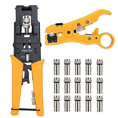Proster Crimpzangen Abisolierzange Set Wasserdicht Einstellbarer Steckverbinder Crimper mit F / BNC / RCA Adapter und Abisolierzange Drahtschneider mit 15 F-Typ Steckverbinder