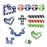 gotyou 15 Piezas 24 Bloques Mini Cubo de Serpiente Magic,Regla Magica de Plastico,Cubos de Juguete de Serpiente,Juguetes Educativos para Niños(Color Aleatorio)