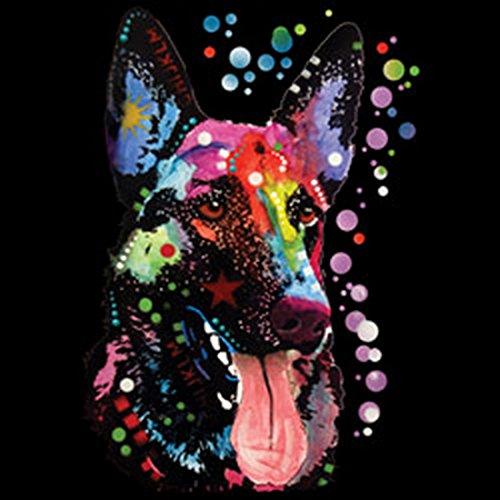 T-Shirt mit buntem Hunde Motiv - Deutscher Schäferhund - German Shepherd - Hundebild - Geschenk für alle Tierliebhaber und Hundefans - schwarz Schwarz