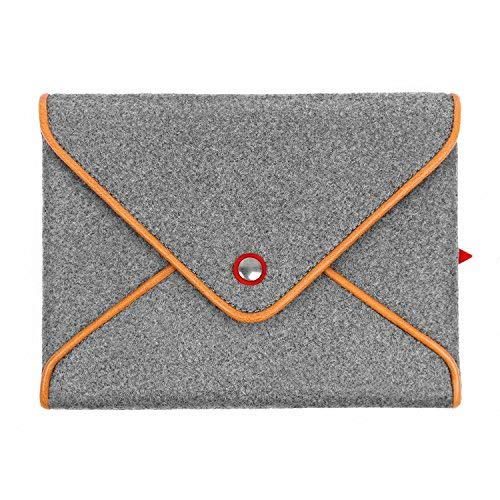 tophome Wolle Filz Tasche grau Tasche Cover Button echtem Leder Rand für Apple iPad Air 1iPad Air 2iPad 2, 3, 4 - Grau Wolle-button