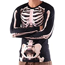 Vin beauty BigFamily de Los Hombres Esqueleto 3D Manga Larga Camiseta de Halloween
