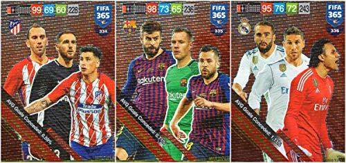 PANINI ADRENALYN XL FIFA 365 2019 Vollständiges Set von DREI (3) Abwehrkarten - Atletico Madrid, Real Madrid, FC Barcelona -