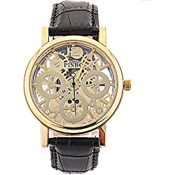 WANGSCANIS® 2016 NEW RELEASE Men's Skeleton Dial Leather Strap Luxury Self-Wind Up Mechanical Automatic Steampunk Watch (Black&Gold)