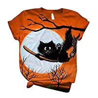 Plus Size Shirt Women Short Sleeve T-shirt Halloween Printed O-Neck Tops Tee T-shirt Manga (Orange,XXL)