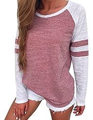Hiroo Mujeres Niñas Blusa de empalme de manga larga Camisa Super Confort Camiseta de la raya de la impresión raya Elegantes tops de trabajo Sudaderas con capucha de túnica ligera (Rojo, XL)