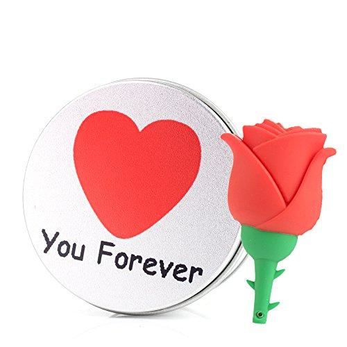 Love forever chiavetta usb rosa fiore da pendrive memoria usb flash drive 2.0 memory stick, idee regalo originali, figurine 3d, archiviazione dati usb gadget 8 gb/16 gb/32g/64gb