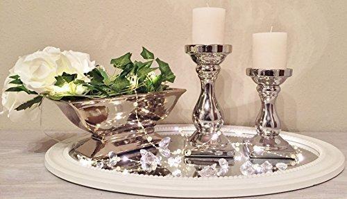 Clic-And-Get SCHICK Kerzenständer Kerzenleuchter Kerzen Stumpenkerzen Silber Keramik (2er Sparset)