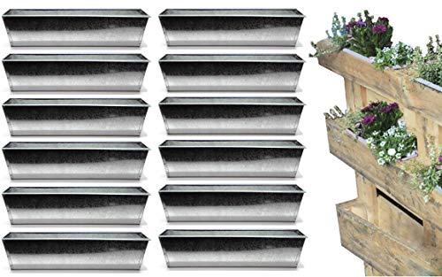 Bada Bing 12er Set Pflanzschale für Palette Verzinktes Metall Blumenkasten Zink Einsatz für Europalette Deko Garten Trend 47