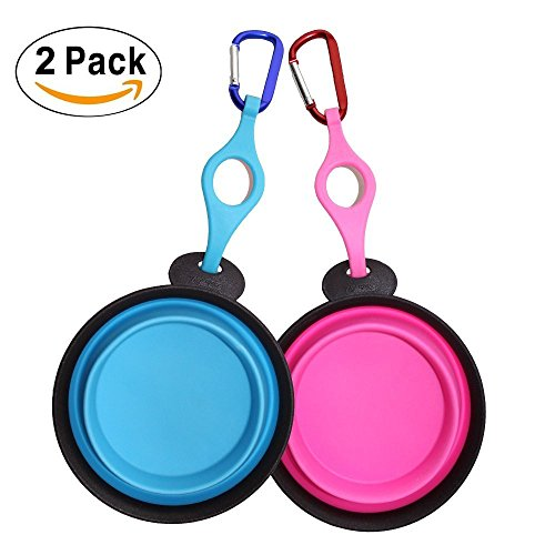 e796f021a5 Dog Bowl Travel, Lauva 2 pack Collapsible Food Grade Silicone Expandable  Pet Bowl,Portable Bowl Traveling with Carabiner and Water Bottle  Holder,Durable ...