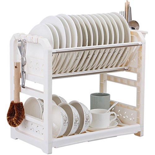 Teckpeak 2 Couches Égouttoir Vaisselle Rangement Organiseur de cuisine en Plastique et Acier Inoxydable - Blanc