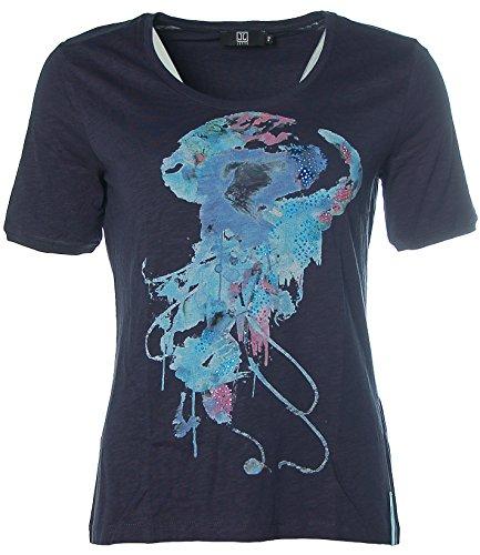 Jette Damen T-Shirt Glitzer Strass Navy