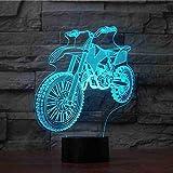 GZGNL Usb del motociclo ha condotto la luce di notte 7 colori che cambiano la bici della sporcizia 3D lampada da tavolo Regali dei capretti Camera da letto comodino Illuminazione di sonno Decor