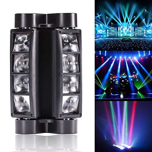 UKing Stage Spider Lights DMX512 Mini luces de rotación 8x3W RGBW 4-LED luces LED DJ Disco Wedding Bar Christmas Fiesta de Halloween