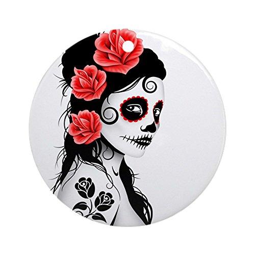 CafePress-Tag der Toten Mädchen Schmuck Weiß (rund)-Rund Urlaub Weihnachten Ornament (Mädchen Der Tag Tattoo Toten)