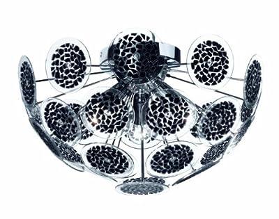 Trio-Leuchten 609000302 Deckenleuchte, 3 x E14 max. 40W, ø 45 cm, Klavierlack schwarz, Scheiben Kunststoff schwarz/klar von Trio Leuchten auf Lampenhans.de