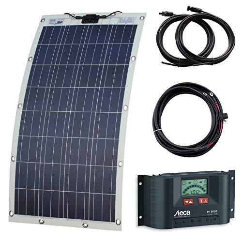 130W semiflexiblem Solar Ladekabel Kit mit Ösen und Schrauben für Wohnmobil, Caravan, Camper, Wohnmobil, Boot oder Yacht (Made in Austria) 110w Solar-kit