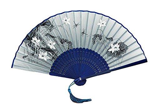 Ventilador plegable de estilo japonés, ventilador femenino chino, flor de cerezo y ventilador de abanico femenino antiguo de la tecnología del viento, envían oído del ventilador y manga del ventilador
