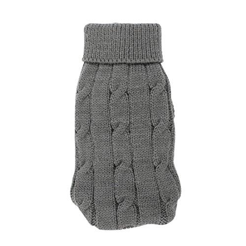 Preisvergleich Produktbild sourcingmap® Pet Chihuahua Verdreht Knit gerippt Cuff Rollkragen Hunde Pullover Grau XXS